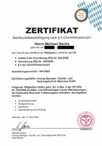 Mitarbeiterzertifikat<br>Sachs - ChemKlimaSchutzV