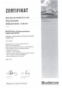 Mitarbeiterzertifikat<br>Schneider - Ölbrennwertkessel Buderus