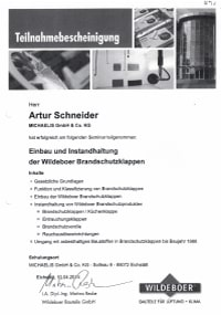 Mitarbeiterzertifikat<br>Schneider - BSK Wildeboer