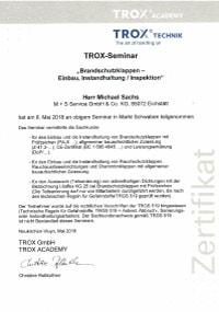 Mitarbeiterzertifikat<br>Sachs - BSK Trox