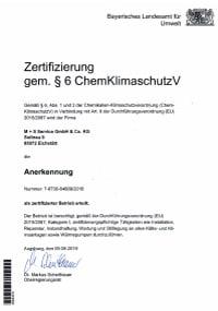 Betriebszertifikat<br> nach §6 ChemKlimaschutzverordnung