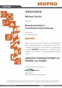 Mitarbeiterzertifikat<br>Sachs - Brandschutzfachverarbeiter-unterweisung