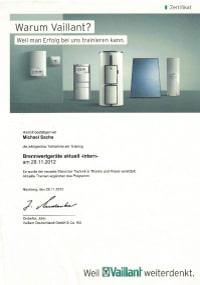 Mitarbeiterzertifikat<br>Sachs - Brennwertgeräte Vaillant