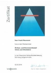 Mitarbeiterzertifikat<br>Neumann - Öl,- Heiz- und Brennwertkessel Viessmann
