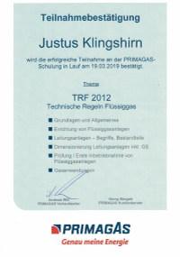 Mitarbeiterzertifikat<br>Klingshirn - TRF 2012