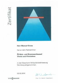 Mitarbeiterzertifikat<br>Grzes - Öl-, Heiz- und Brennwertkessel Viessmann
