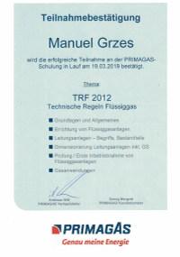 Mitarbeiterzertifikat<br>Grzes - TRF 2012 Primagas