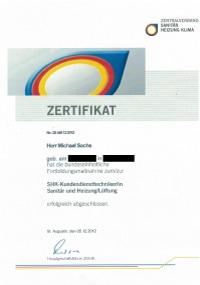 Mitarbeiterzertifikat<br>Sachs - SHK-Kundendiensttechniker
