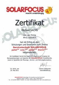 Mitarbeiterzertifikat<br>Sachs - Servicetechnik Solarfocus