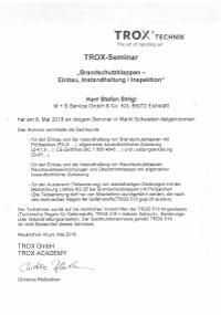 Mitarbeiterzertifikat<br>Strigl - BSK Trox