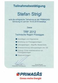 Mitarbeiterzertifikat<br>Strigl - TRF Primagas