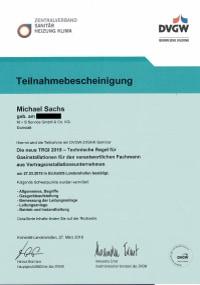 Mitarbeiterzertifikat<br>Sachs - TRGI 2018