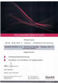 Mitarbeiterzertifikat<br>Sachs - Trinkwasserinstallation Dendrit Studio 2.0