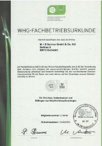 WHG-Fachbetriebsurkunde