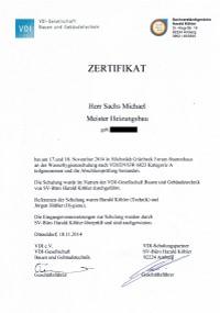 Mitarbeiterzertifikat<br>Sachs - Wasserhygieneschulung