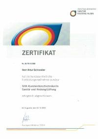 Mitarbeiterzertifikat<br>Schneider - SHK-Kundendiensttechniker