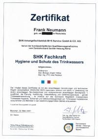 Mitarbeiterzertifikat<br>Neumann - SHK-Fachkraft für Hygiene und Schutz des Trinkwassers