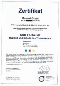 Mitarbeiterzertifikat<br>Grzes - SHK-Fachkraft für Hygiene und Schutz des Trinkwassers