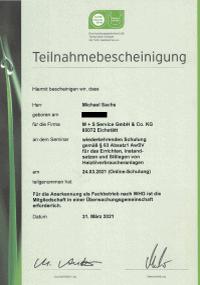 Mitarbeiterzertifikat<br>Sachs - Instandsetzung und Stilllegung von Heizölverbraucheranlagen